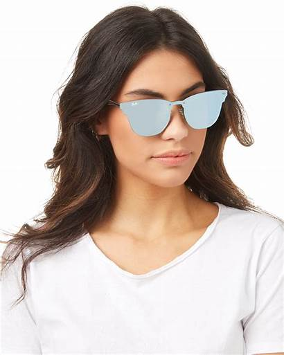 Ban Ray Sunglasses Silver Clubmaster Blaze Brushed