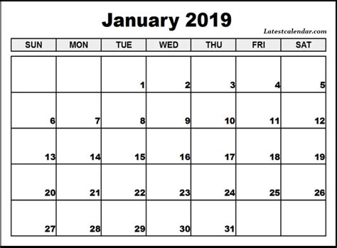 Free Printable January 2019 Blank Templates
