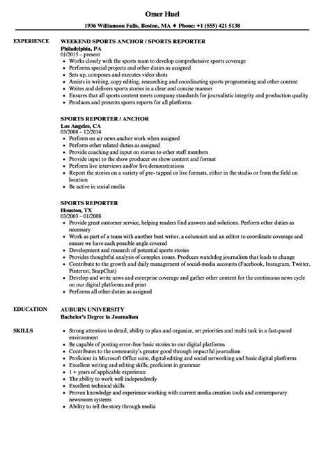 Reporter Resume by Sports Reporter Resume Sles Velvet