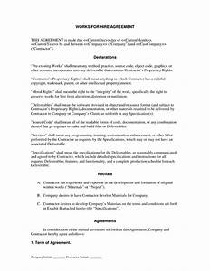 works for hire agreement general service product With sample work for hire agreement template