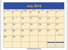 July 2019 Calendar Printable with Holidays PDF and JPG