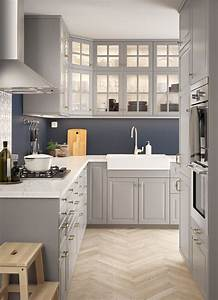 Ikea Bodbyn Grau : l f rmige k che mit bodbyn fronten und vitrinent ren in grau ikea pinterest ikea k che ~ Markanthonyermac.com Haus und Dekorationen