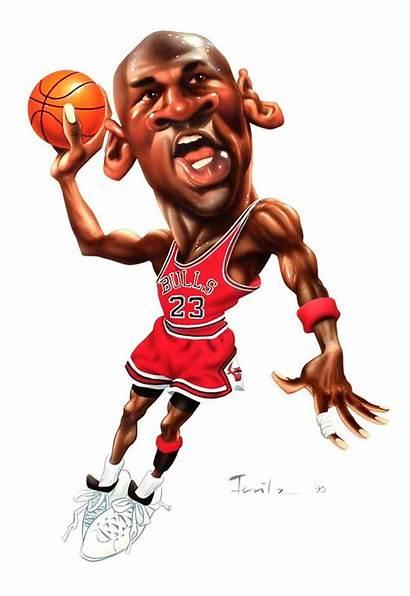 Jordan Michael Basketball Caricatures Air Cartoon Nba