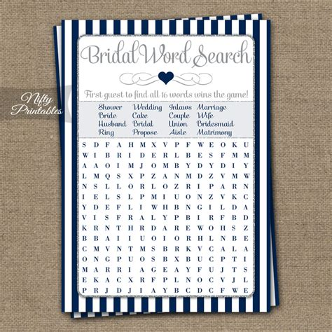 word for shower printable bridal shower word search navy blue