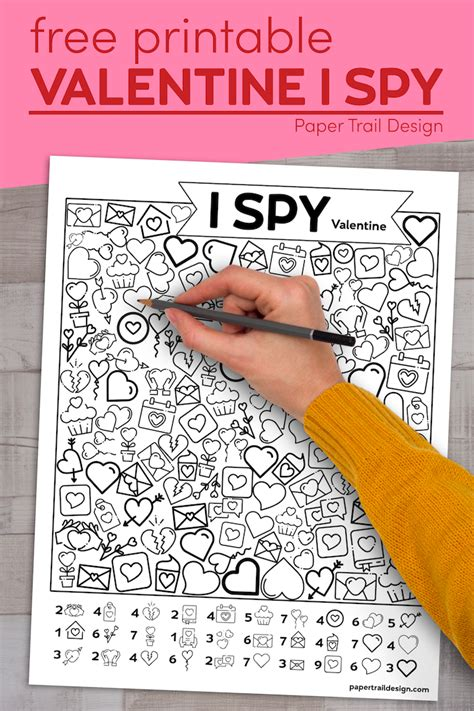 printable valentine  spy activity paper trail design