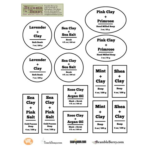 Free Downloadable Labels Template by Cleansing Clay Label Template Downloadable Pdf
