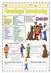 english worksheet greetingsintroducing