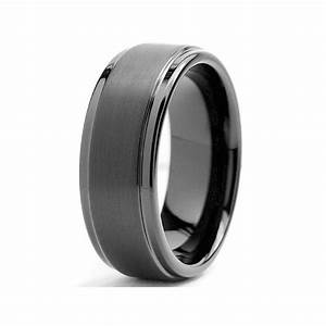 8mm black high polish matte finish men39s tungsten ring With mens tungsten wedding rings