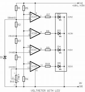 Simple Car Battery Voltage Monitor Circuit Diagram
