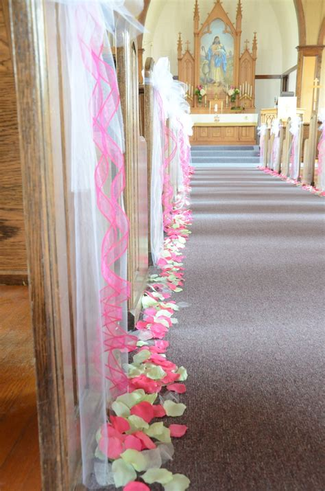 pew bows and petals along the aisle our diy wedding