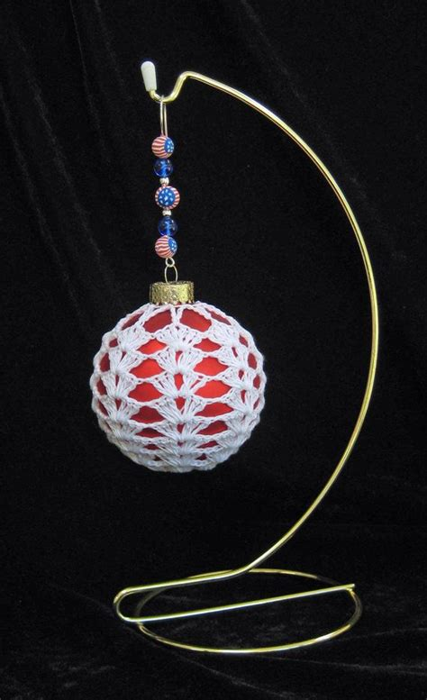 crocheted christmas ornament with beaded hanger