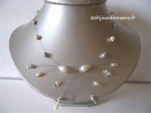 collier mariage pas cher gris et ivoire comete With collier pour mariage pas cher
