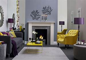 How to choose the right colours for interior design for Yellow grey and purple living room