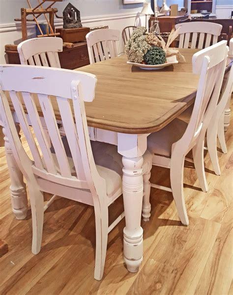 tables de cuisines table crème blanc cassé dessus bois shabby rustique chic