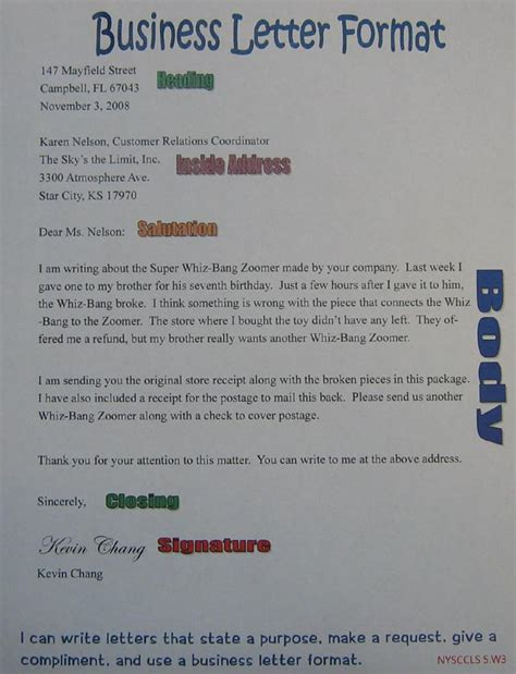 business letter anchor chart  grade sra imagine
