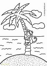 Coloring Nature Pages Island Monkey Palm Printable Trees Tropical Tree Palma Ellis Sheet Drawings Monkeys Children 4kids Sheets Pencil Getdrawings sketch template