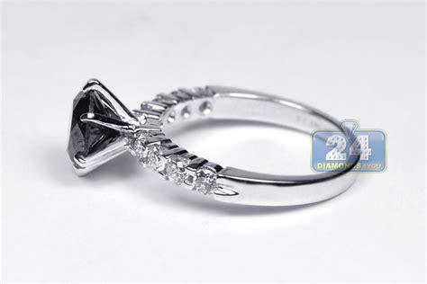 14k Gold 2.36 Ct Black Diamond Womens Solitaire Engagement