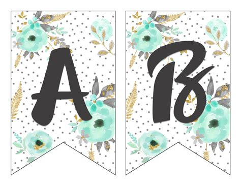 printable alphabet banner mint gold arts