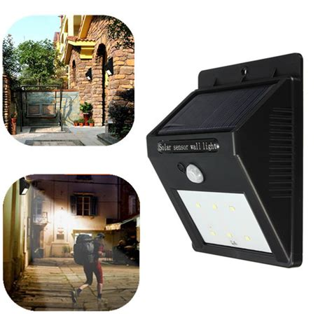 solar power 6 led pir motion sensor light outdoor garden