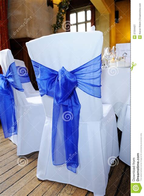 blue ribbon chair cover stock image image  cloth