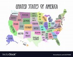 Colored poster map of united states of america Vector Image