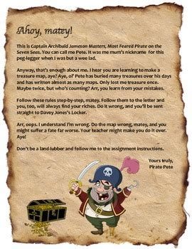 teach map skills  pirate petes treasure map project tpt