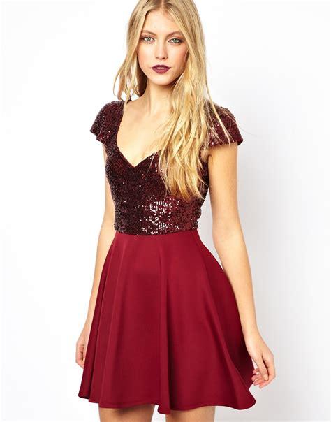 lyst asos sequin top skater dress  red