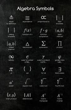 math poster algebra symbols  math posters teachers