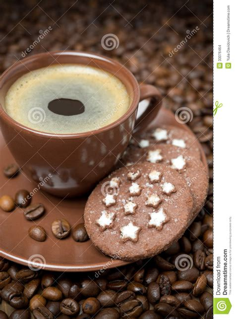 Isolated vector object on with background. Cup Of Black Coffee And Christmas Cookies Stock Photo - Image of food, beans: 33076464