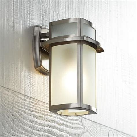 """Brushed Nickel Frosted Glass 11 14"""" High Outdoor Wall Light"""
