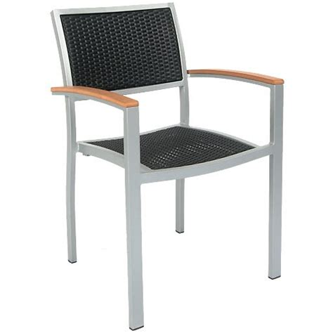 aluminum patio arm chair with black faux wicker