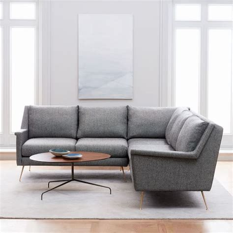 mid century l carlo mid century l shaped sectional west elm