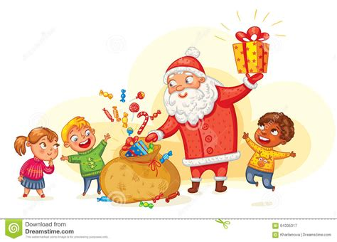 Santa Claus Brings Gifts To Children Stock Vector