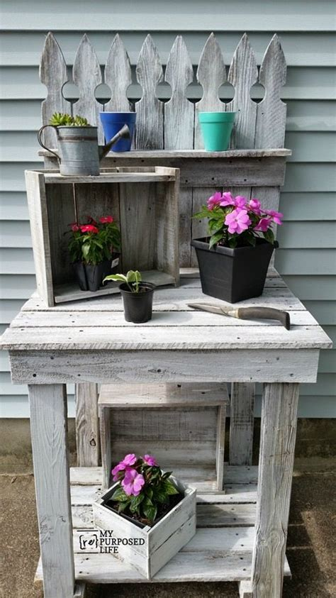 reclaimed wood potting bench  repurposed life