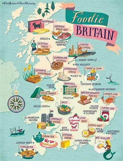 Map Britain Foodie England Travel Isles Vb