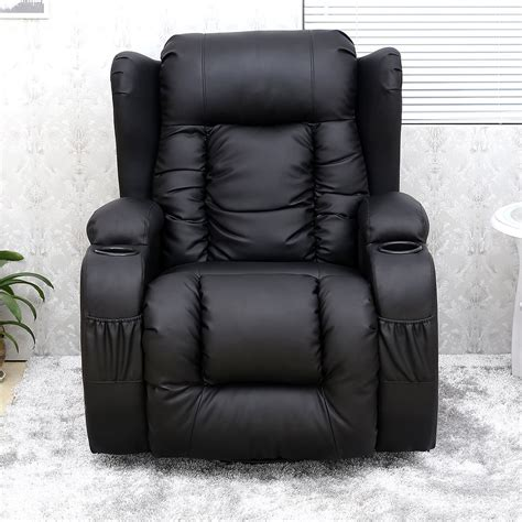 black recliner chair caesar black winged leather recliner chair rocking