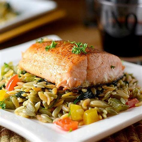 Grilled Salmon With Orzo Recipe  Just A Pinch Recipes