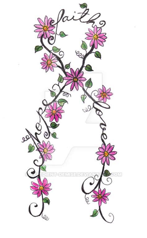 cancer ribbon tattoo flowers  expedient demise  deviantart