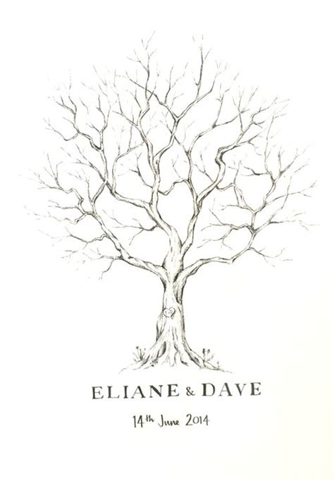 lizzie barton hand drawn fingerprint tree wedding