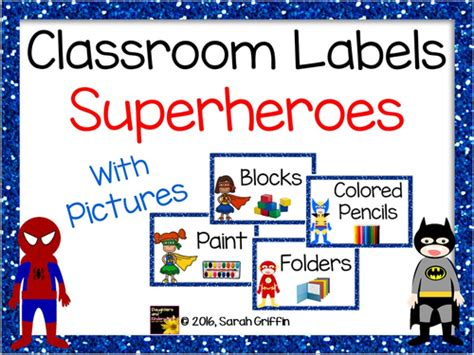 Superhero Classroom Labels With Pictures By Sgriffink  Teaching Resources Tes