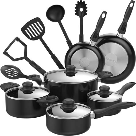 cookware pans pots stick non kitchen nonstick cooking utensils pot pan piece homelabs oven safe sets basics amazon quart steel