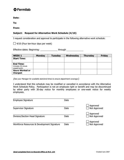 alternative work schedule agreement  word   formats