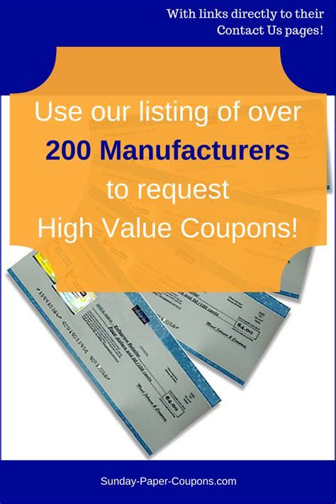 Manufacturer Coupons   Free Coupons by Mail