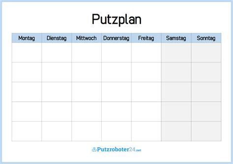 Putzen Plan by Putzplan Wochenplan Einfache Putzplan Vorlage Putzplan