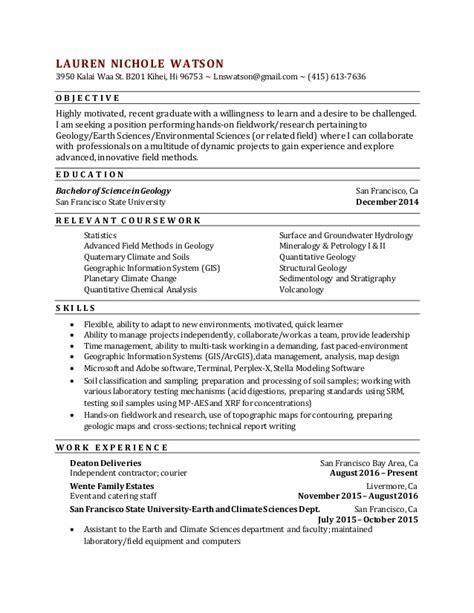 new geology resume lauren watson 9 20 2016