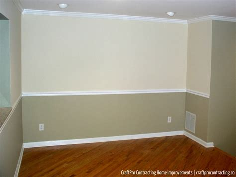 two tone paint with chair rail in master bedroom