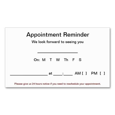 appointment reminder cards  pack white business card