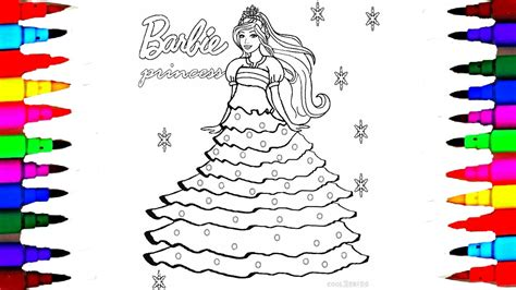 draw barbie princess dress  barbie coloring pages