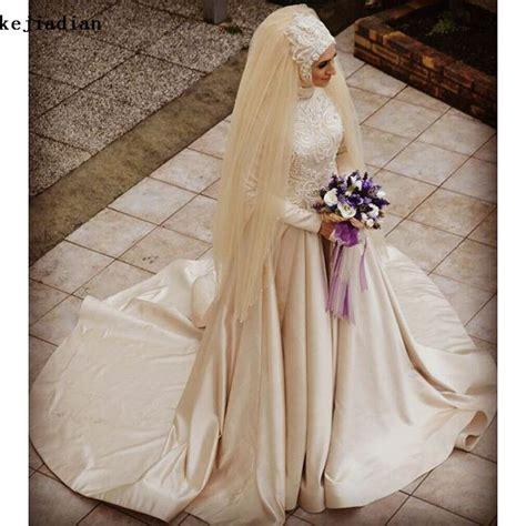lange mouwen champagne gekleurde baljurk moslim trouwjurk met hijab sluier  parels kralen