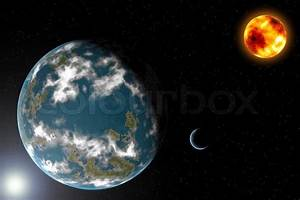 Earth type planet with moon and sun | Stock Photo | Colourbox